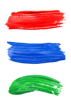 paint strokes: Set of strokes of multicolored paint isolated on white background