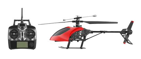 remote: Remote controlled helicopter with controlling handset, isolated on white background