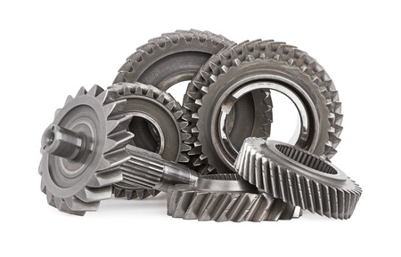 Gear metal wheels, isolated on white background Stok Fotoğraf