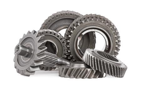 Gear metal wheels, isolated on white background Standard-Bild