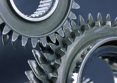 connect: Gear metal wheels close-up