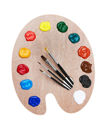 brush paint: Wooden art palette with paints and brushes, isolated on white background