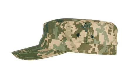 camouflaged: Army camouflaged cap, isolated on white background