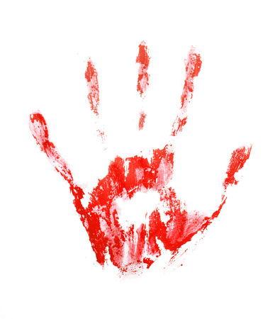 bloody hand print: Red hand print, isolated on white background