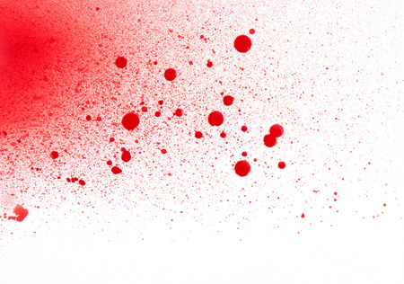droplets: Blood (paint) spatters, splashes and sprays isolated on white Stock Photo