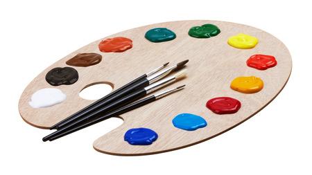 pintor: Arte paleta de madera con pinturas y pinceles, aislados en fondo blanco Foto de archivo