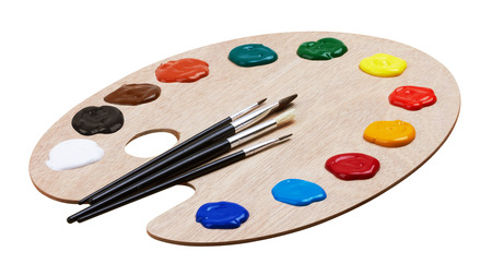 Wooden art palette with paints and brushes, isolated on white background