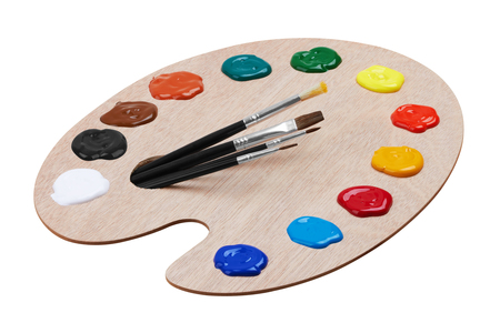 painter palette: Wooden art palette with paints and brushes, isolated on white background