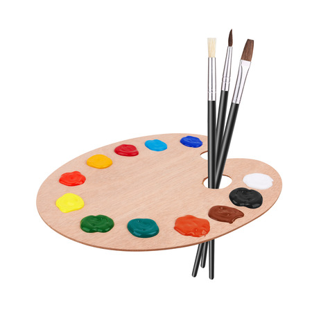 wooden color: Wooden art palette with paints and brushes, isolated on white background