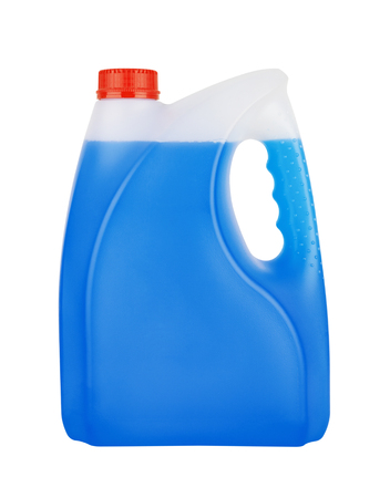 antifreeze: Bottle with non-freezing cleaning liquid isolated on white background