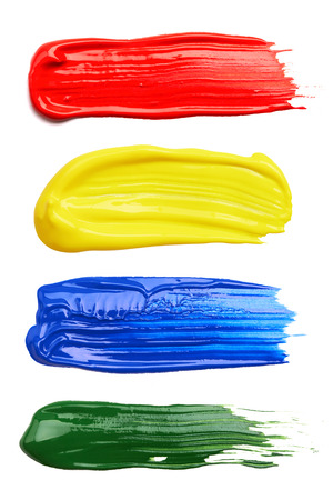 Set of strokes of multicolored paint isolated on white background
