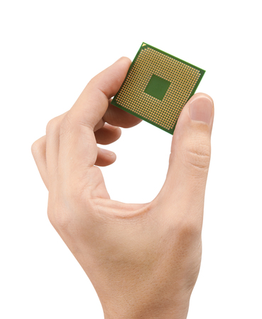 processors: Computer processors CPU in hand, isolated on white background