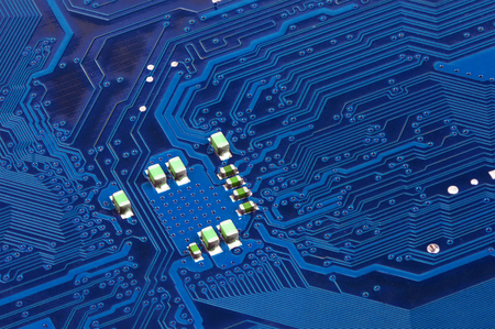 circuitry: Electronic circuit board, close up. Stock Photo