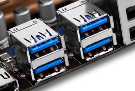 usb port: USB port on motherboard, close-up Stock Photo