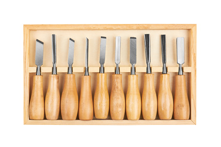 sculp: Set of Chisels in box, isolated on white background Stock Photo