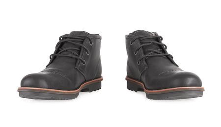 foot gear: Mens Black Leather Shoes Isolated on White Background