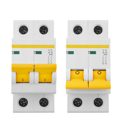 fuse box: Automatic electricity switchers, isolated on white background