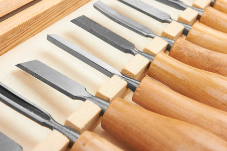 chisels: Set of Chisels in box, close up Stock Photo