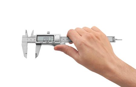 Dgital Electronic Vernier Caliper in Hand, isolated on white background