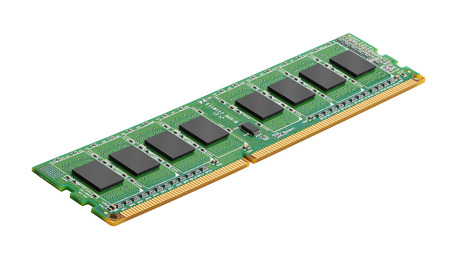carnero: módulo de memoria DDR RAM aislado en el fondo blanco Foto de archivo