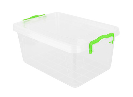 tupperware: Plastic container isolated on white background Stock Photo