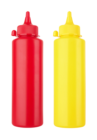 squirting ketchup: Bottles of Ketchup and Mustard isolated on white background