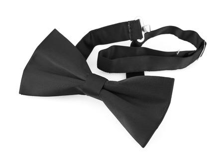 wedding band: Black bow tie isolated on white background Stock Photo