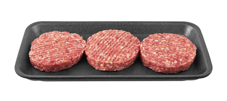 package: Raw meat patty in package, isolated on white