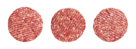 Raw Meat: Raw meat patty, isolated on white Stock Photo