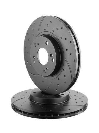 component: Brake disks isolated on white background Stock Photo