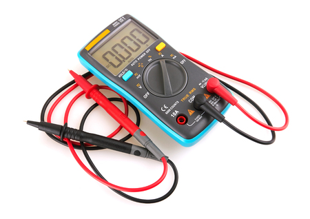 Digital multimeter isolated on white background Stock Photo