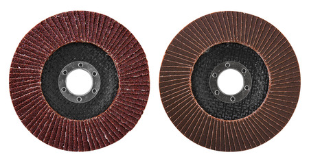 Abrasive disk for grinder isolated on white Banque d'images