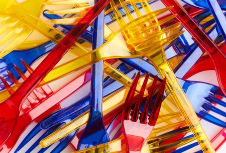 Set of colored plastic forks close-up Stok Fotoğraf