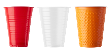 Set of Plastic cup isolated on white background Stok Fotoğraf