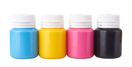 Color gouache jars and color acrylic paints isolated on white background