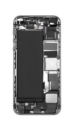 Disassembled mobile phone close-up, isolated on white background