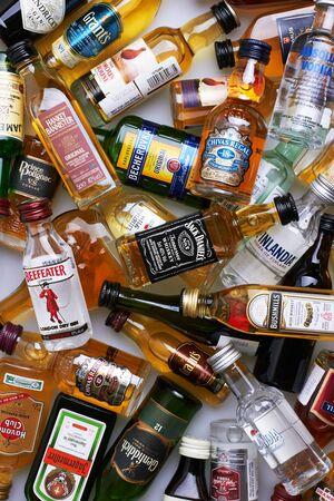 Set of bottles of assorted alcoholic beverages, close up Editöryel