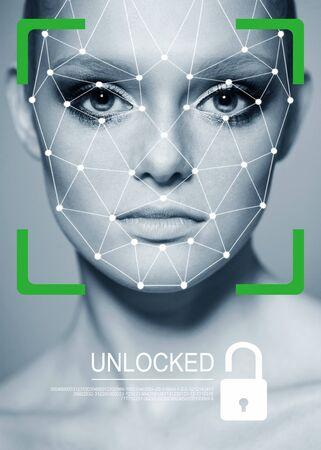 Biometrische Überprüfung. Junge Frau. Das Konzept einer Technologie der Gesichtserkennung auf polygonalem Raster. IT-Sicherheits- und Schutz-ID