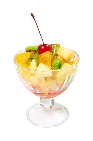 Fruit salad isolated on white background