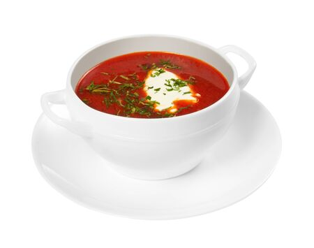 Borscht in a bowl isolated on white background Standard-Bild