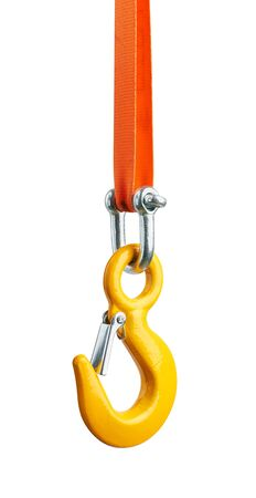 Metal hook with sling, isolated on white background