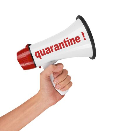 Megaphone in hand for a Coronavirus Covid 19 warning, isolated on white