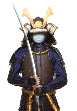Samurai in a protection mask, for a prevention from covid-19 virus