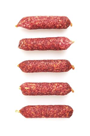 Fresh Mini Salami isolated on white background