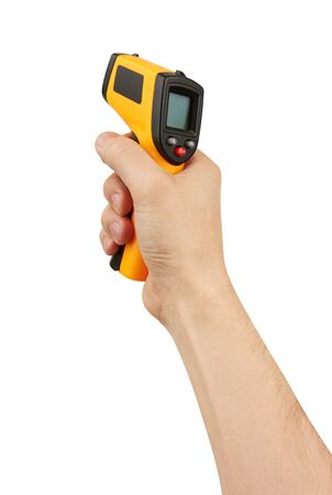 Thermometer for diagnostic in hand, isolated on white Standard-Bild