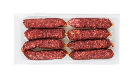 Fresh Mini Salami in package isolated on white background