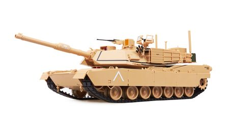 Abrams M1A1 Main Battle Tank, isolated on white background. Model. Standard-Bild
