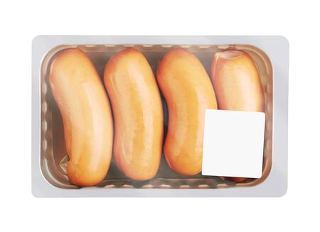 Boiled Sausages in pack, isolated on white background Standard-Bild