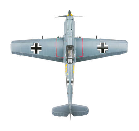 Messerschmitt 109E-3 aeroplane. Model. Isolated on white background