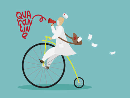Doctor in a bike, with protection mask and megaphone, for a prevention from covid-19 virus Ilustrace